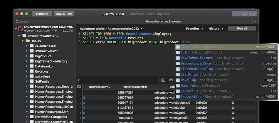 Интерфейс программы SQL Pro Studio